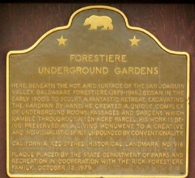 Forestiere Underground Gardens Marker image. Click for full size.