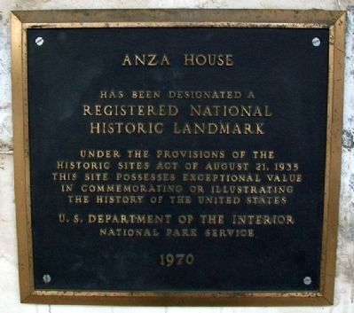 Anza House NHL Marker image. Click for full size.