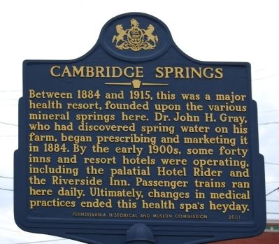 Cambridge Springs Marker image. Click for full size.