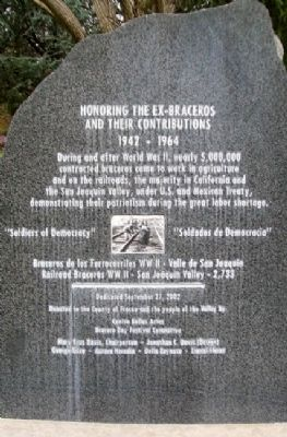 Honoring the Ex-Braceros and Their Contributions Marker image. Click for full size.