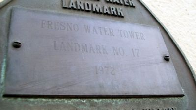 The Fresno Water Tower AWWA Marker Detail image. Click for full size.