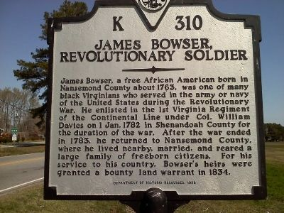 James Bowser, Revolutionary Soldier Marker image. Click for full size.