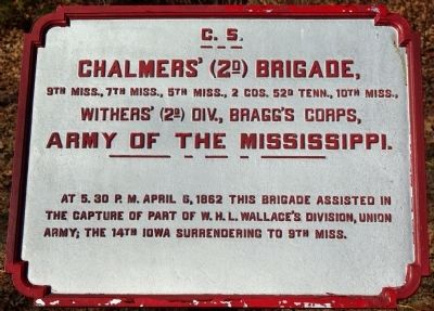 Chalmers' (2d) Brigade. Marker image. Click for full size.