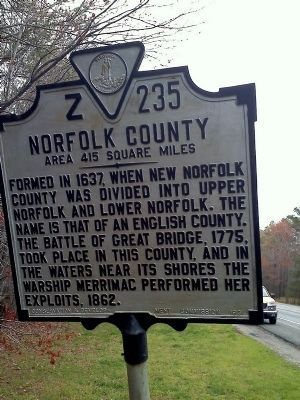 Nansemond County / Norfolk County Marker image. Click for full size.