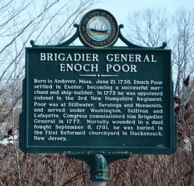 Brigadier General Enoch Poor Marker image. Click for full size.