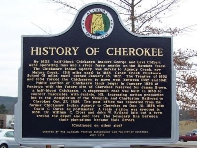 History of Cherokee Marker - Side 1 image. Click for full size.