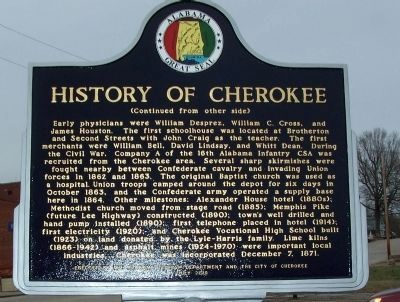 History of Cherokee Marker - Side 2 image. Click for full size.