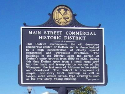 Main Street Commercial Historic District Marker - Side A image. Click for full size.