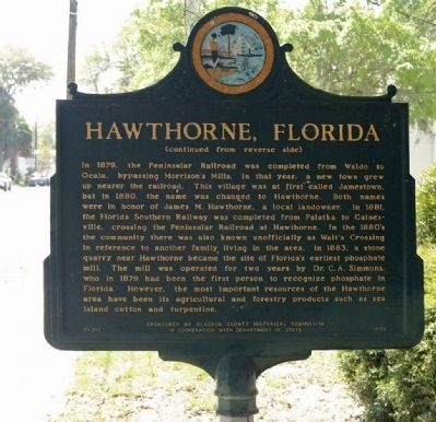 Hawthorne Marker, reverse side image. Click for full size.