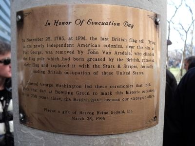 In Honor of Evacuation Day Marker image. Click for full size.