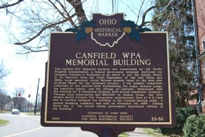 Canfield WPA Memorial Building Marker image. Click for full size.