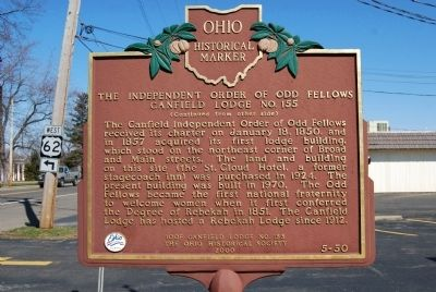 The Independent Order of Odd Fellows Canfield Lodge No. 155 Marker image. Click for full size.