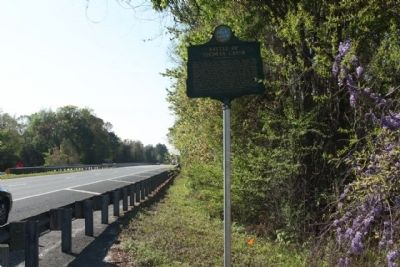 Battle of Thomas Creek Marker, looking south along US 1, at Thomas Creek image. Click for full size.