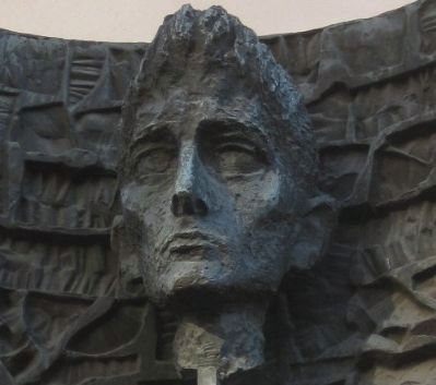 Franz Kafka - closeup of bust on marker image. Click for full size.