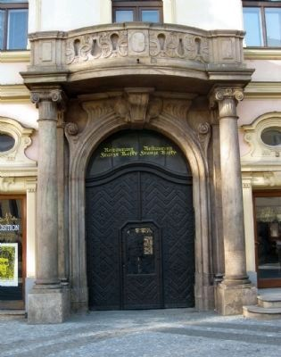 Franz Kafka birthplace - main entrance to the building image. Click for full size.