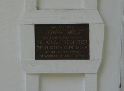 Huttner House NRHP Plaque image. Click for full size.