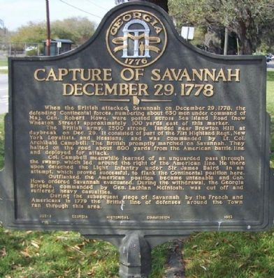 Capture of Savannah December 29, 1778 Marker image. Click for full size.
