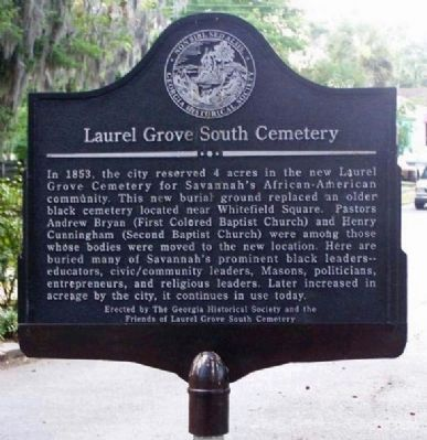 Laurel Grove South Cemetery Marker image. Click for full size.