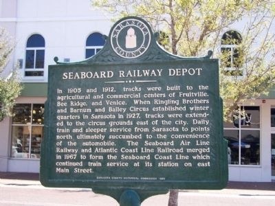 Seaboard Railway Depot Marker Reverse image. Click for full size.