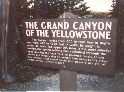 The Grand Canyon of the Yellowstone Marker at Artist Point image. Click for full size.