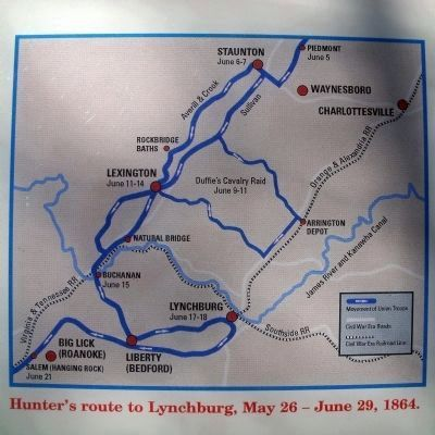 Hunter's route to Lynchburg, May 26 - June 29, 1864 image. Click for full size.
