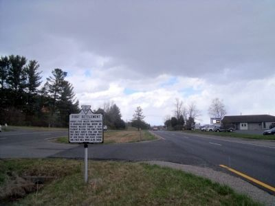 First Settlement Marker (facing north) image. Click for full size.