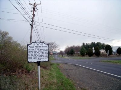 Page's Meeting House Marker (facing north) image. Click for full size.