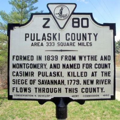 Pulaski County Marker (reverse) image. Click for full size.