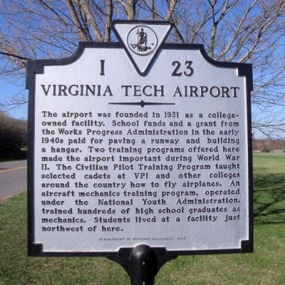 Virginia Tech Airport Marker image. Click for full size.