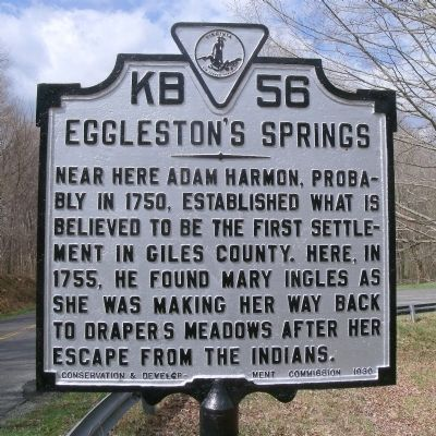 Eggleston's Springs Marker image. Click for full size.