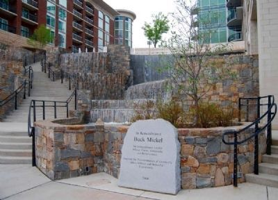 Buck Mickel Marker -<br>River Place Falls in Background image. Click for full size.