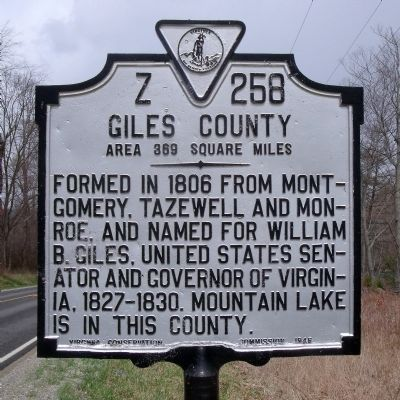 Giles County Marker (obverse) image. Click for full size.
