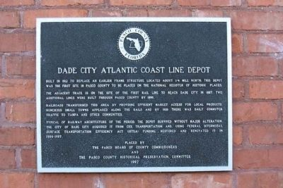 Dade City Atlantic Coast Line Depot Marker image. Click for full size.