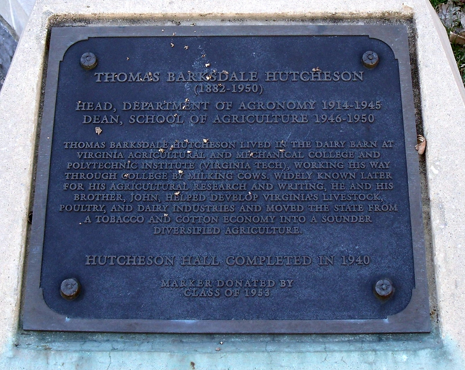 Thomas Barksdale Hutcheson Marker