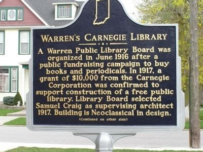 Warren's Carnegie Library Marker - Side A image. Click for full size.