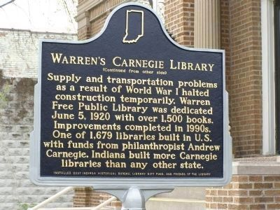 Warren's Carnegie Library Marker - Side B image. Click for full size.