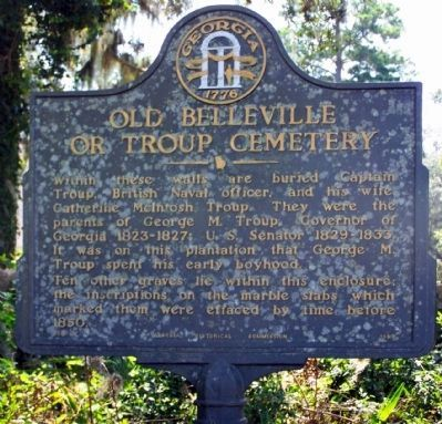 Old Belleville or Troup Cemetery Marker image. Click for full size.