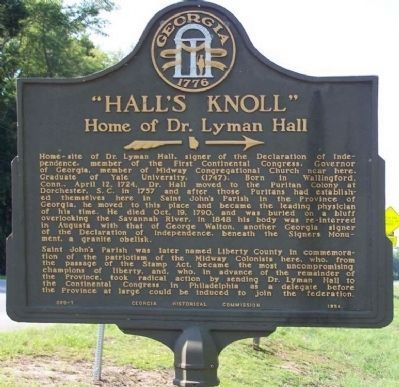 """Hall's Knoll"" Marker image. Click for full size."