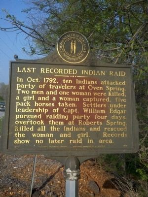 Last Recorded Indian Raid Marker image. Click for full size.
