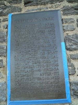 Fort Tryon Park Marker image. Click for full size.