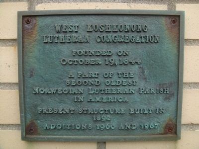 West Koshkonong Lutheran Congregation Marker image. Click for full size.