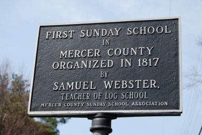 First Sunday School in Mercer County Marker image. Click for full size.