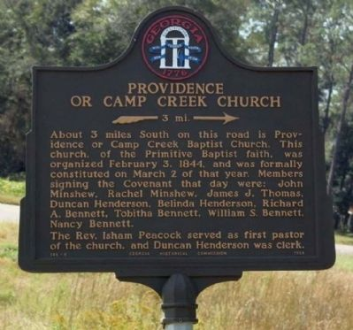 Providence Or Camp Creek Church Marker image. Click for full size.