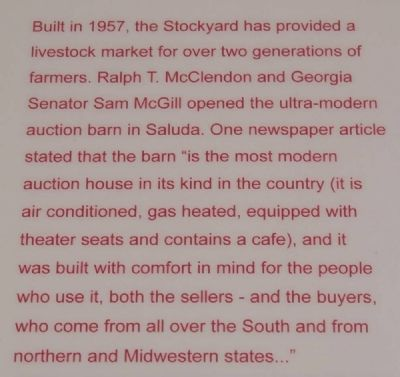Saluda County Stockyard and Livestock Market Marker image. Click for full size.