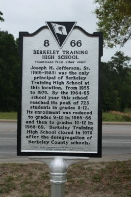 Berkeley Training High School Marker, reverse side image. Click for full size.