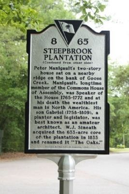 Steepbrook Plantation Marker, reverse side image. Click for full size.