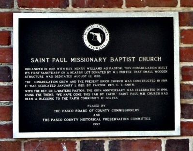 Saint Paul Missionary Baptist Church Marker image. Click for full size.