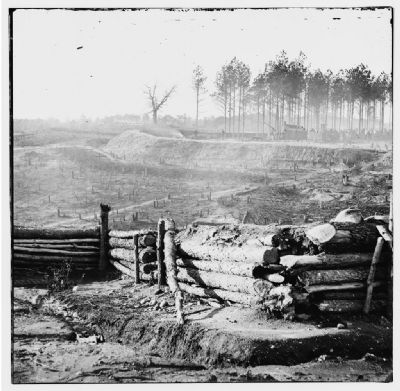 Bermuda Hundred, Va. Federal earthworks on left of the line, near Point of Rocks image. Click for full size.