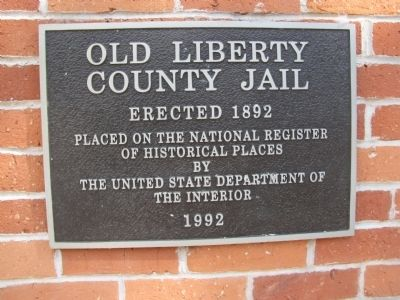 Old Liberty County Jail NRHP plaque image. Click for full size.