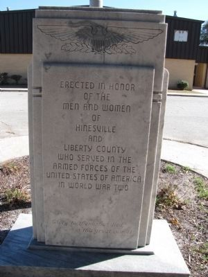 Hinesville and Liberty County World War II Veterans Monument image. Click for full size.